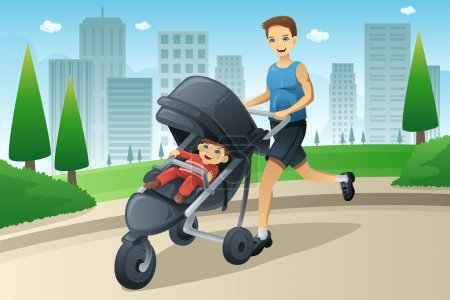 Father jogging while pushing a stroller