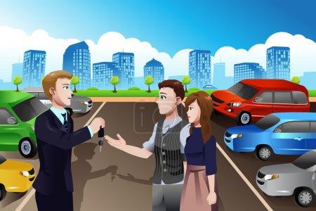 Illustration pour Une illustration vectorielle de vendeur de voiture donnant la clé de la voiture neuve au client dans le concessionnaire - image libre de droit
