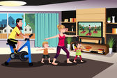 Healthy family exercising together