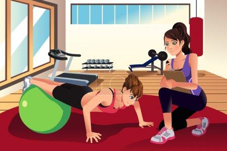 Illustration pour Une illustration de vecteur d'entraîneur personnel féminin, une femme dans la salle de gym de formation - image libre de droit