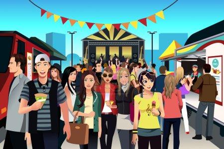 Illustration pour Illustration vectorielle des gens qui s'amusent au festival de street food - image libre de droit