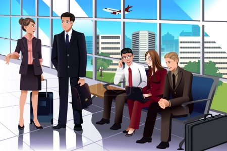 Illustration for A vector illustration of business people waiting in the airport - Royalty Free Image