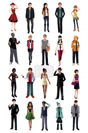 Illustration for A vector illustration of stylish young people from different ethnicity - Royalty Free Image