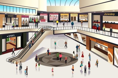 Illustration for A vector illustration of scene inside shopping mall - Royalty Free Image