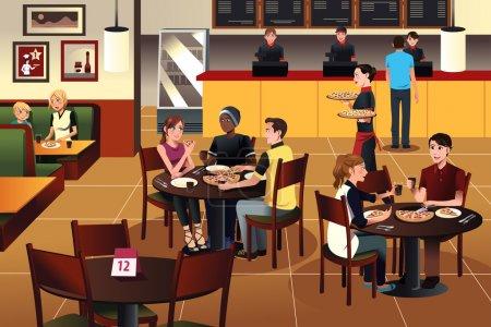 Illustration pour Illustration vectorielle de jeunes mangeant de la pizza ensemble dans un restaurant - image libre de droit