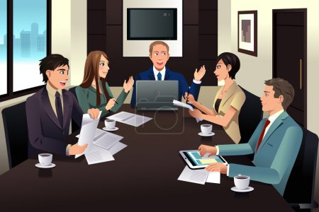 Illustration for A vector illustration of business team meeting in a modern office - Royalty Free Image