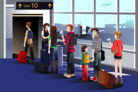 Illustration for A vector illustration of people boarding the airplane at the gate - Royalty Free Image