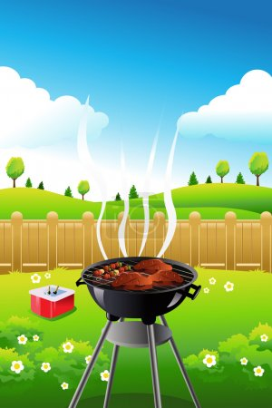 Illustration for A vector illustration of barbeque party poster design - Royalty Free Image