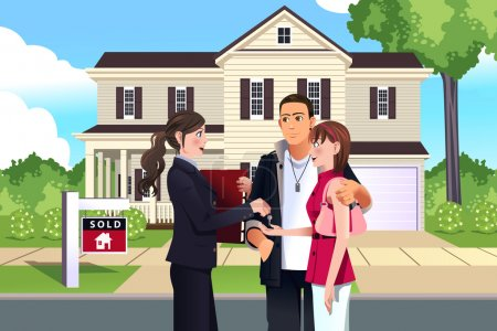 Illustration for A vector illustration of real estate agent in front of a sold house with her customer - Royalty Free Image