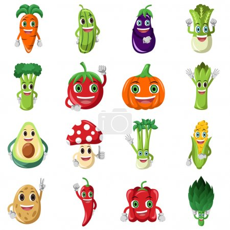 Vegetable character icons