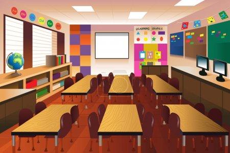 Illustration pour Illustration vectorielle d'une classe vide pour l'école primaire - image libre de droit