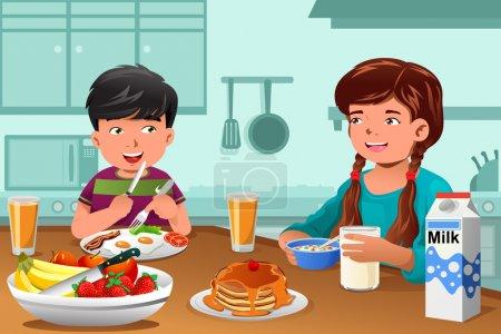 Kinder essen gesundes Frühstück