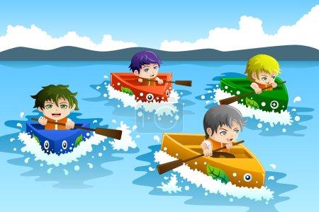 Kids in a boat race