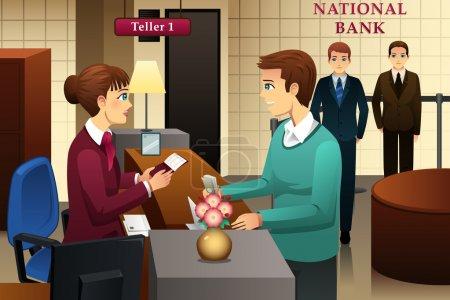 Illustration pour Illustration vectorielle d'un guichet de banque au service d'un client de la banque - image libre de droit