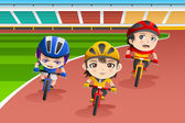 Kids in a bicycle race