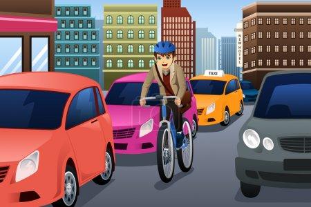 Illustration pour Illustration vectorielle du vélo d'affaires en ville - image libre de droit