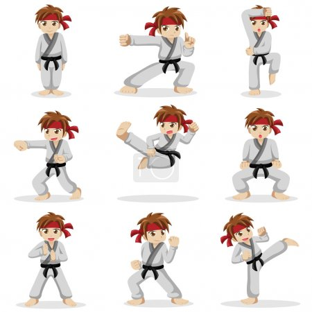 Different poses of karate kid