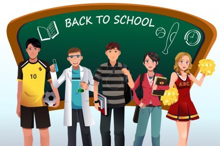 Illustration for A vector illustration of back to school background with copyspace - Royalty Free Image