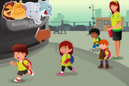 Illustration for A vector illustration of school field trip to a zoo - Royalty Free Image