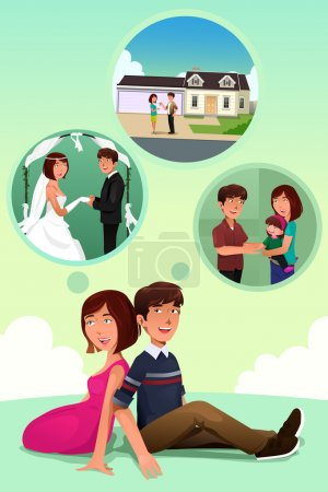 Illustration for A vector illustration of young couple imagining their life together - Royalty Free Image