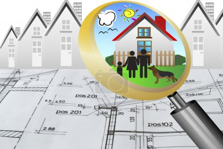 Architectural plan blueprint real estate business concept with magnifying glass lens happy family and dream house