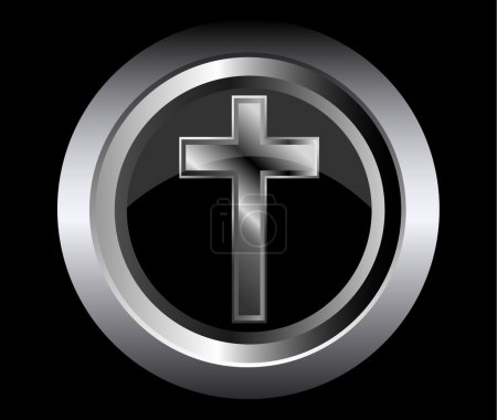 Holy cross symbol of the Christian faith on a black metal button background vector illustration
