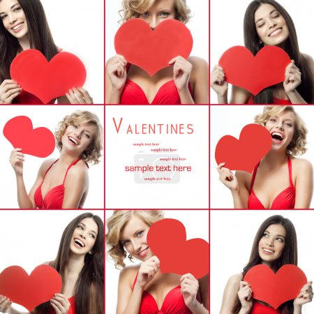 Photo for Portrait attractive smiling women isolated on white background. Valentines heart collage - Royalty Free Image