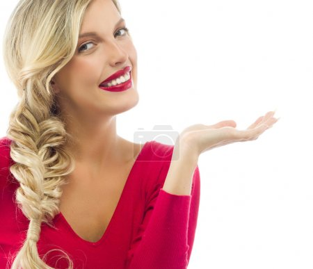 Photo for Portrait of attractive caucasian smiling woman blond isolated on white studio shot red lips toothy smile face long hair head and shoulders looking at camera - Royalty Free Image