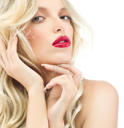 Blond woman with red lips face