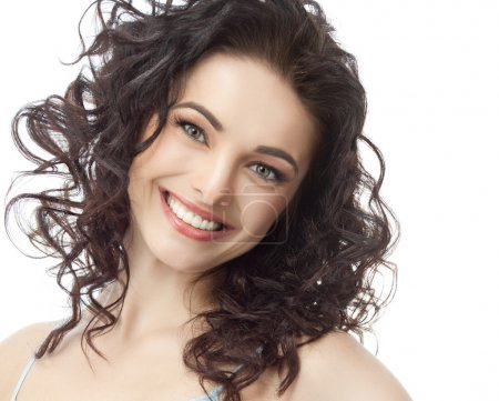Portrait of attractive caucasian smiling brunette ...