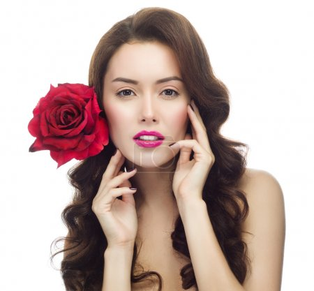 Photo for Portrait of attractive caucasian brunette woman isolated on white. Studio shot with red rose flower - Royalty Free Image