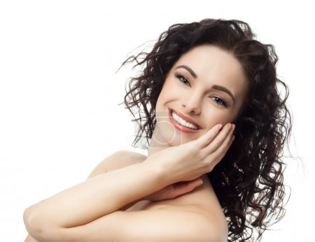Photo for Portrait of attractive caucasian smiling brunette woman isolated on white. Studio shot - Royalty Free Image