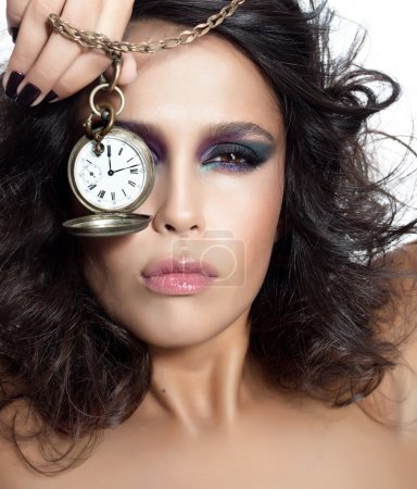 Photo for Closeup portrait of attractive young caucasian woman brunette isolated on white studio shot looking at camera face skin eyes lips makeup hair hand nails watches - Royalty Free Image