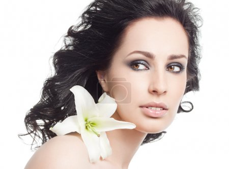 Photo for Attractive woman portrait on white background with flower - Royalty Free Image