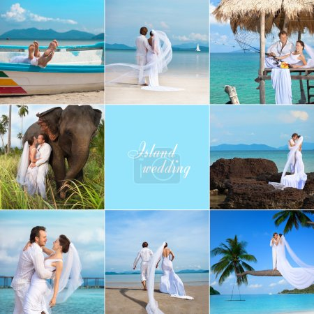 Photo for Attractive young couple in wedding dress on the beach - Royalty Free Image