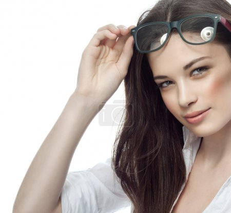 Photo for Closeup portrait of attractive  caucasian smiling woman brunette isolated on white studio shot lips toothy smile face hair head and shoulders looking at camera tooth glasses businesswoman - Royalty Free Image