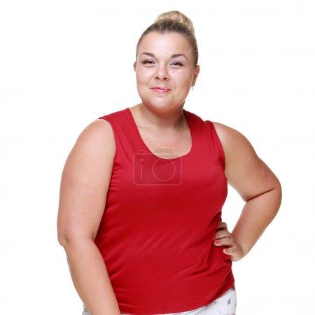 Happy fat woman