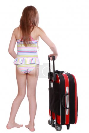 Photo for Fashion little girl in swimsuit and suitcase - Royalty Free Image