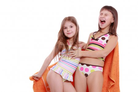 Girls holding towel