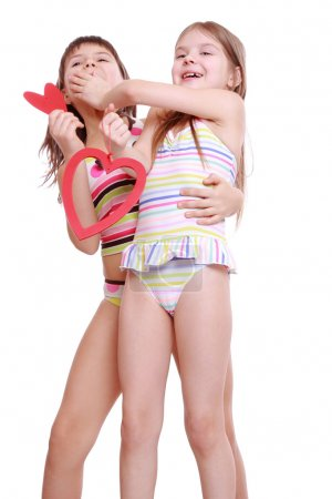 Photo for Adorable little girls posing as a fashion models - Royalty Free Image