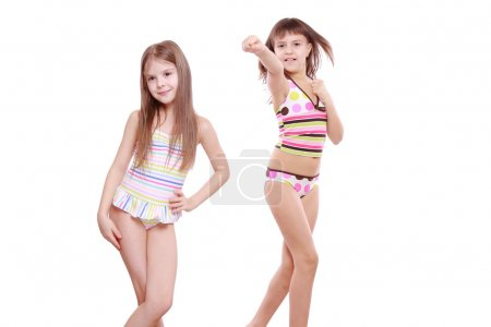 Little girls in a swimsuit