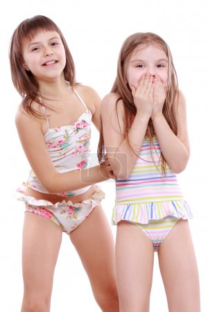 Little girls in a swimsuit