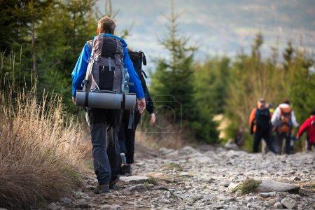 Photo pour Randonnée - goiing sur une belle voie alpine les gens - image libre de droit