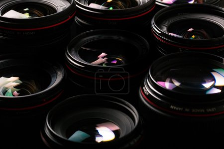 Modern camera lenses with reflections