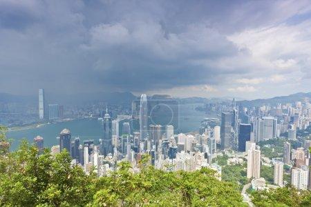 Hong Kong office buildings at storm