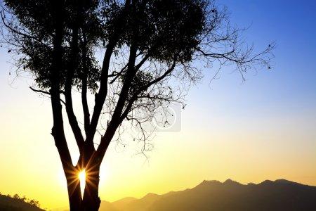 Photo pour Coucher de soleil majestueux paysage de montagne - image libre de droit