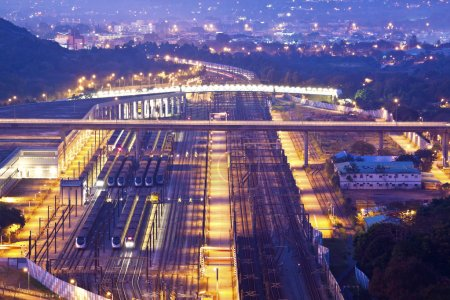 Railway transportation at night...