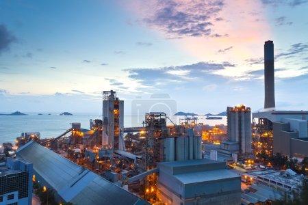 Sunset at power plant in Hong Kong