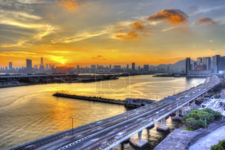 Sunset downtown in Hong Kong