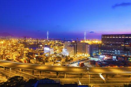 Cargo terminal at night